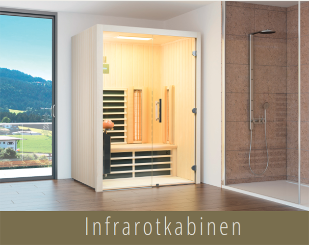 Infrarotkabine neben geräumiger Dusche und großem Panorama-Fenster