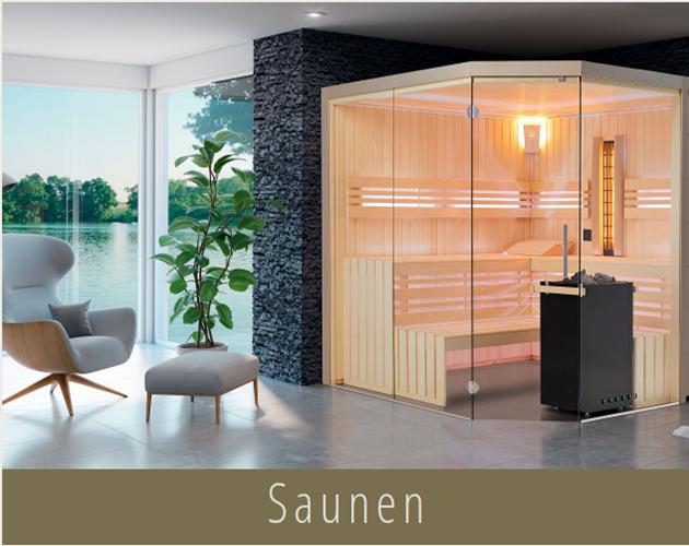 Sauna Aurora S54 an einer Glasfront mit Blick auf einen See