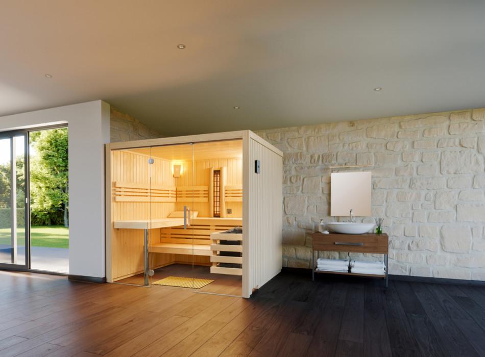 Eine schöne helle Sauna eingebaut in einem großen offenen Raum
