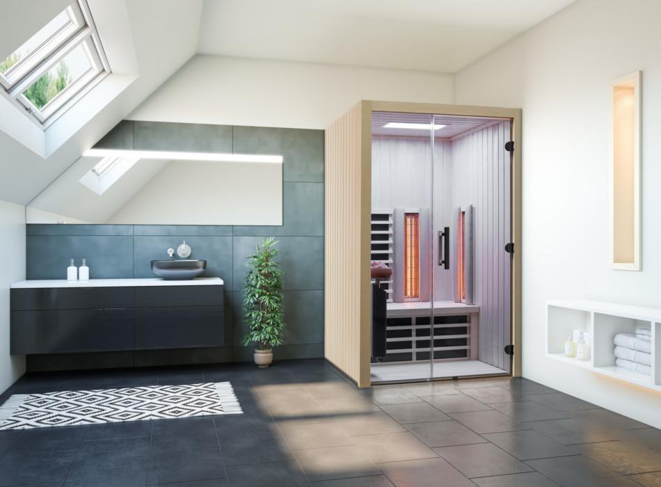 Infrarotsauna TrioSol 125 aus Espe eingebaut in einem modernen türkisfarbenen Badezimmer
