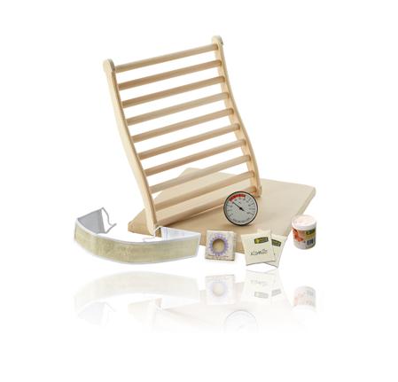 Infrarotset: Rückenlehne, Sitzpolster, Peelingsalz, Rückenmassageband, Wellnessseife, Kräuterkissen und Thermometer